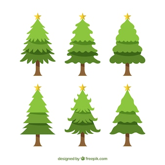 Pack of six christmas trees