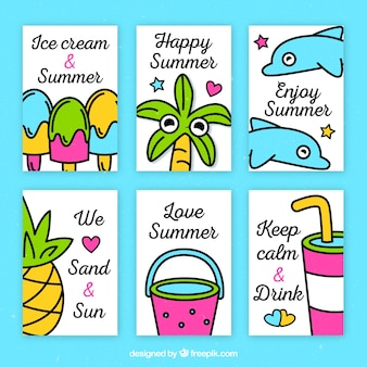 Pack of six colored summer cards