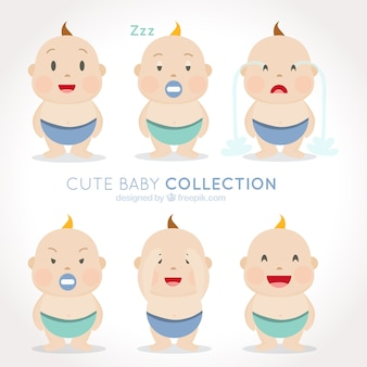 Pack of six cute babies