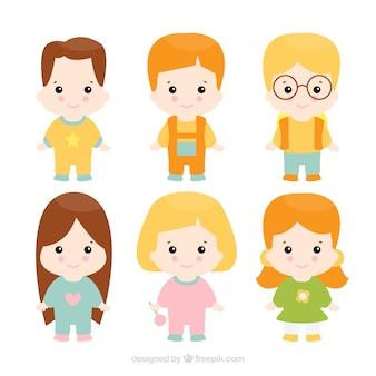 Pack of six cute children