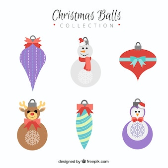 Pack of six decorative christmas balls