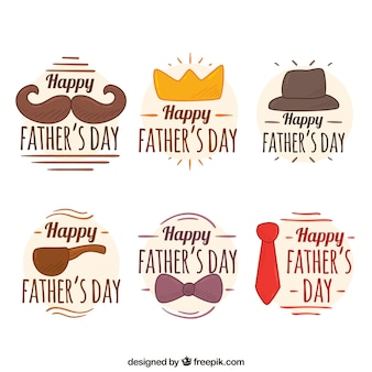 Pack of six decorative stickers for father's day