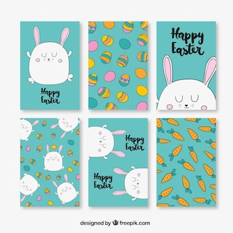 Pack of six easter cards with traditional items