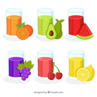 Pack of six fruit juices in flat design