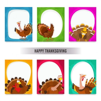 Pack of six funny cards for thanksgiving