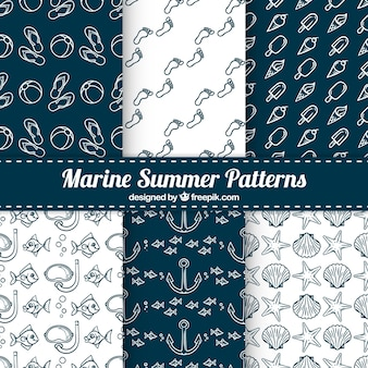 Pack of six great patterns with marine elements