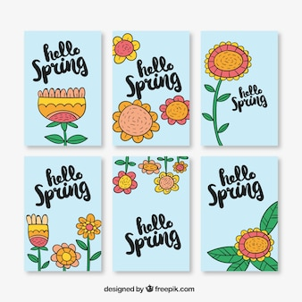 Pack of six greeting cards with hand-drawn flowers