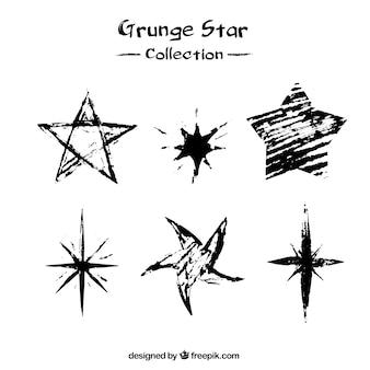 Pack of six grunge stars