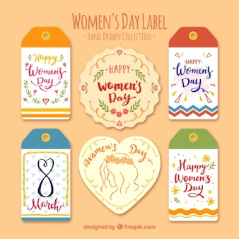 Pack of six hand-drawn labels for women's day