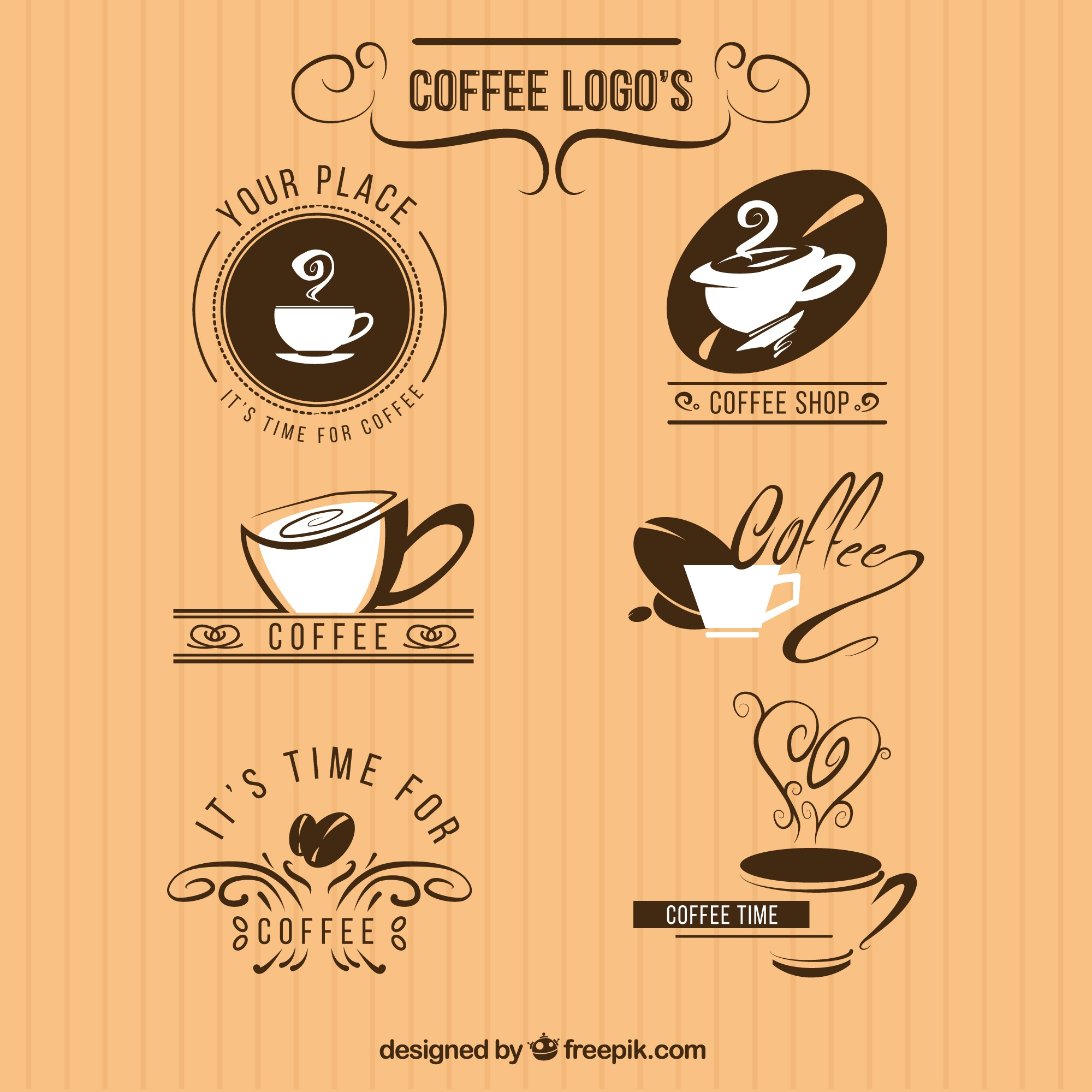 Pack of six logos for a coffee shop