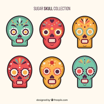 Pack of six ornamental skulls with different colors