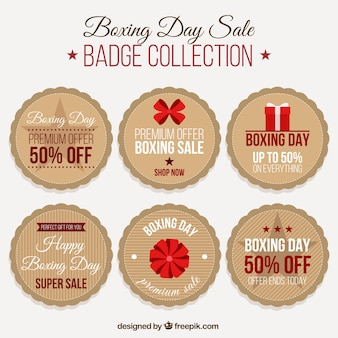 Pack of six round stickers for boxing day