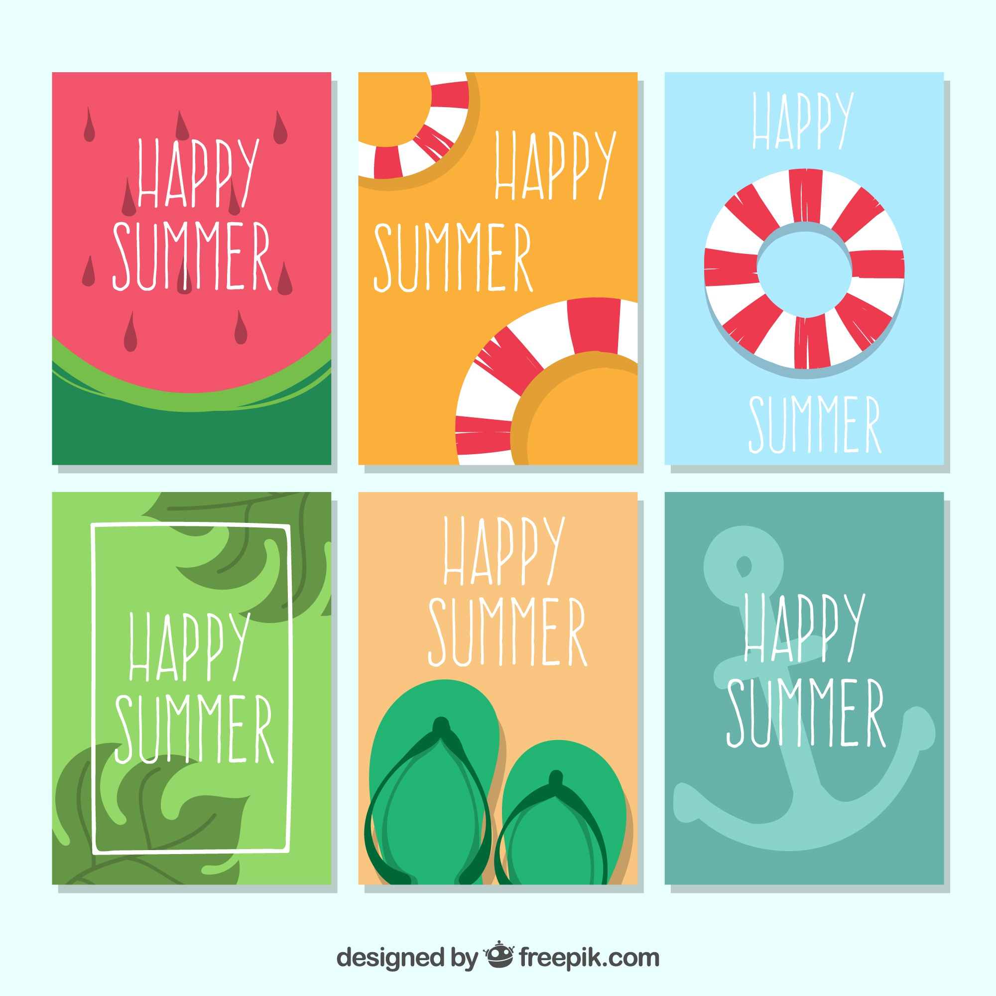 Pack of six summer cards with hand-drawn elements