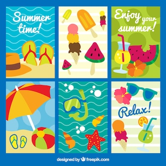 Pack of six summer cards