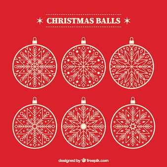 Pack of six white christmas balls