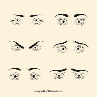 Pack of sketches of female eyes