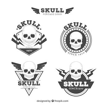 Pack of skull logos in vintage style