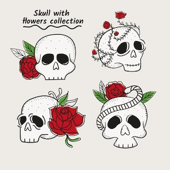 Pack of skulls hand drawn with roses