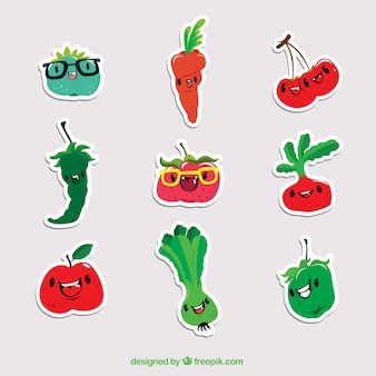 Pack of smiley vegetables stickers