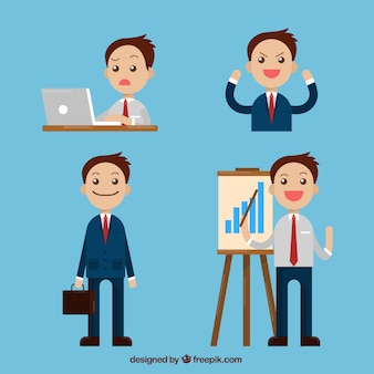 Pack of smiling businessman character in different situations