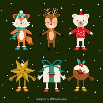 Pack of smiling christmas characters in flat design