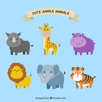 Pack of smiling jungle animals