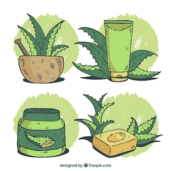 Pack of soap and other aloe vera cosmetics