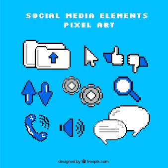Pack of social networking elements in pixel art style