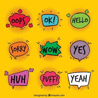 Pack of speech bubbles with expressions