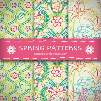 Pack of spring patterns with colored flowers