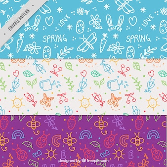 Pack of spring patterns with cute doodles