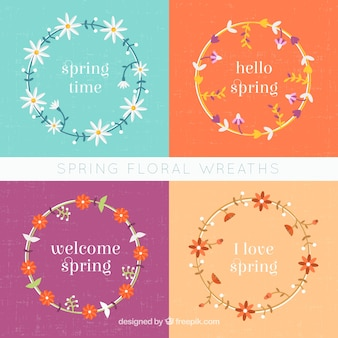 Pack of spring wreaths with flat flowers