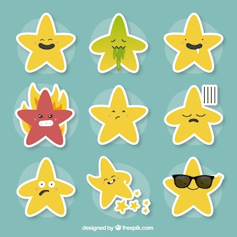 Pack of stars with different expressions