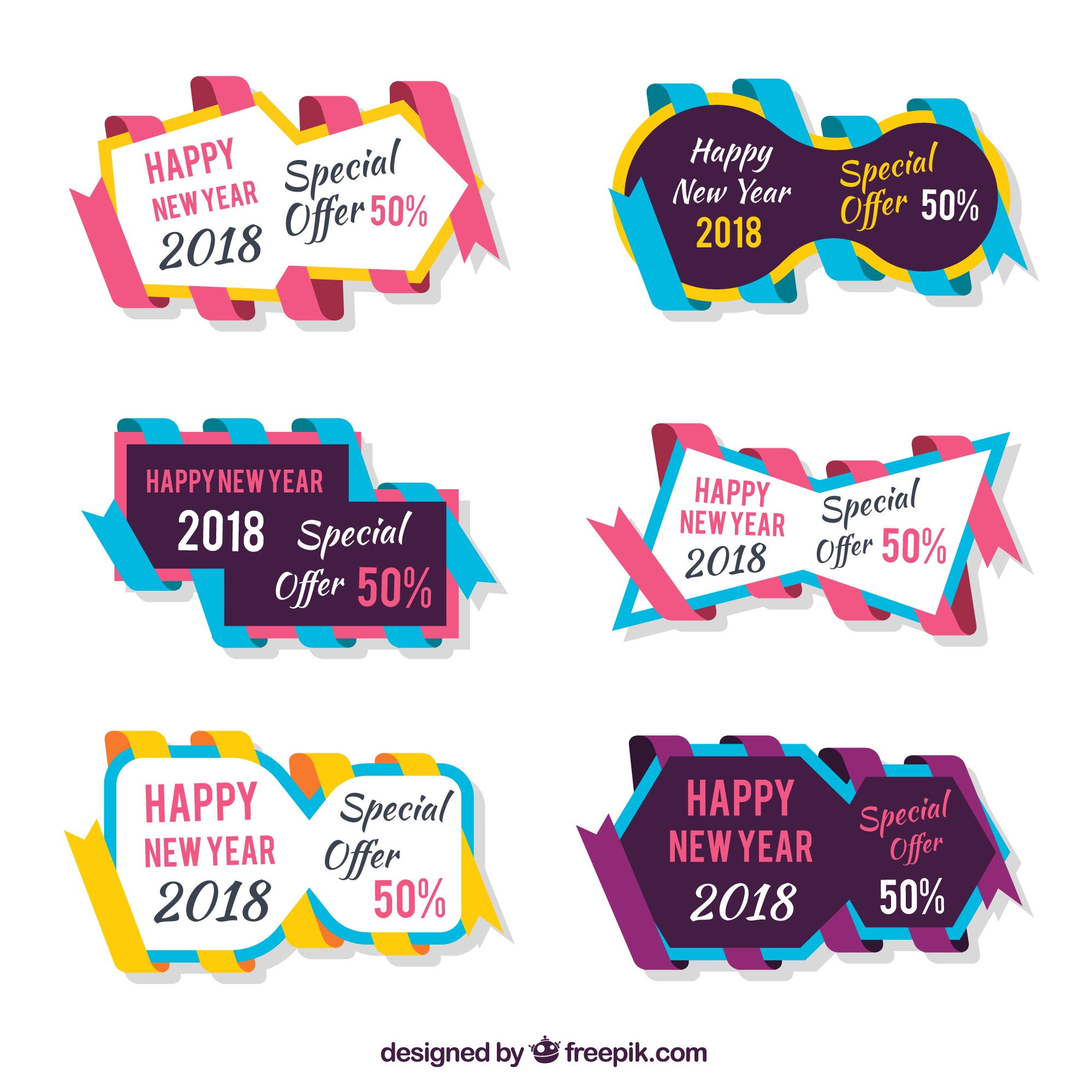 Pack of stickers with colorful ribbons for new year