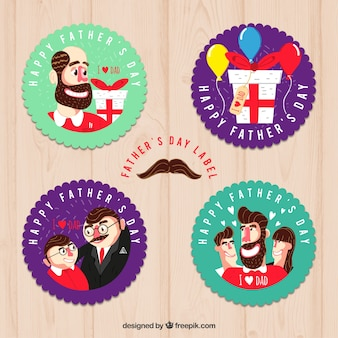 Pack of stickers with father scenes