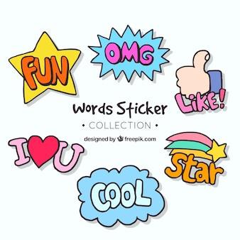 Pack of stickers with hand drawn words