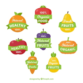 Pack of stickers with healthy food