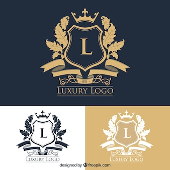 Pack of stylish logos with crests