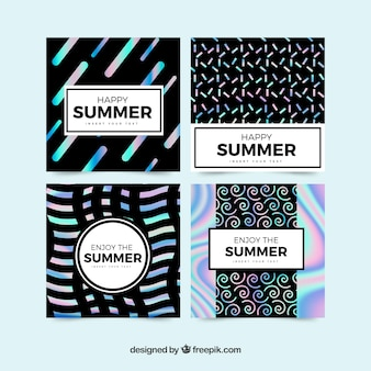 Pack of summer cards of abstract shapes