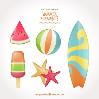 Pack of summer elements and surfboard