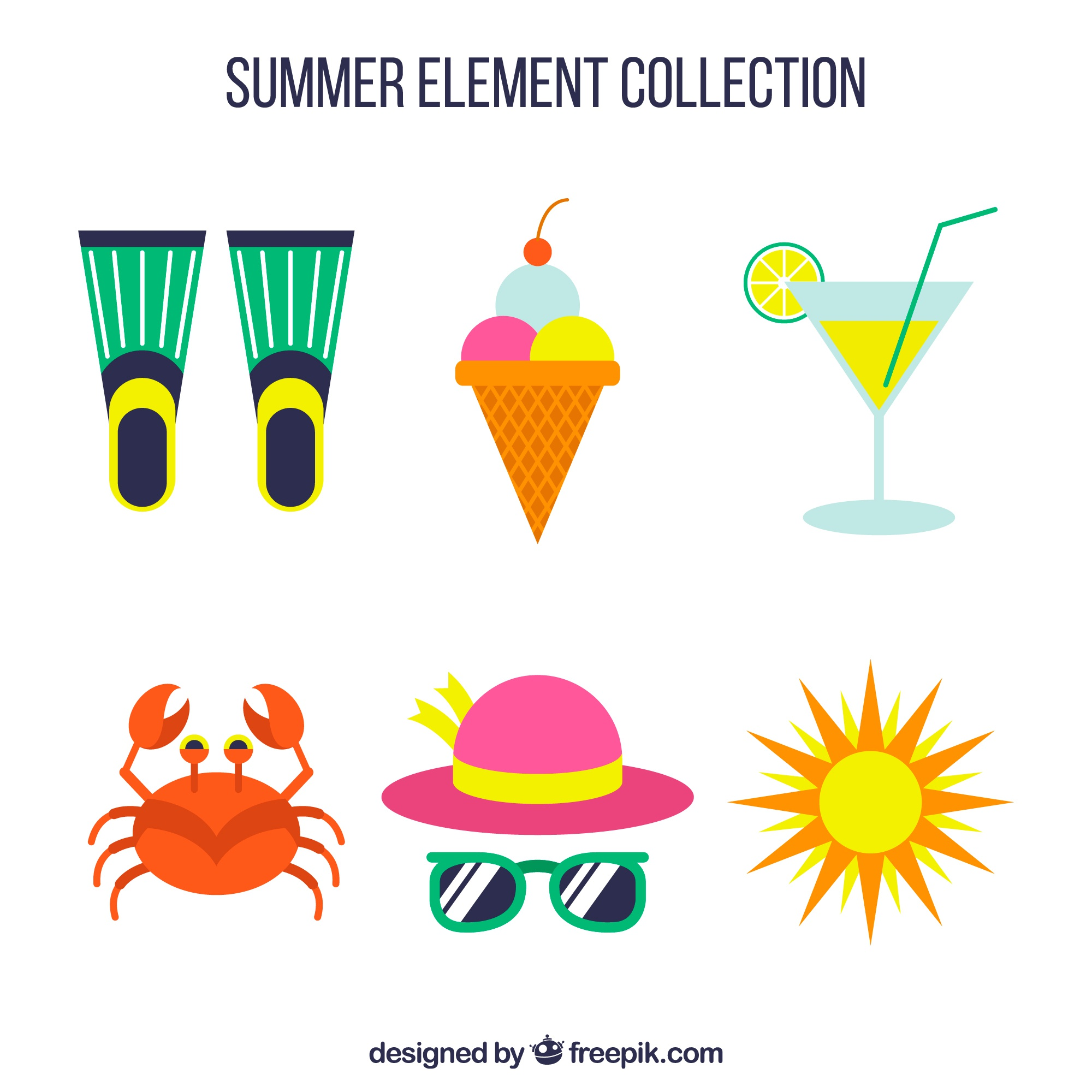 Pack of summer elements in flat design