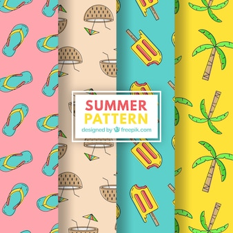 Pack of summer patterns with variety of elements