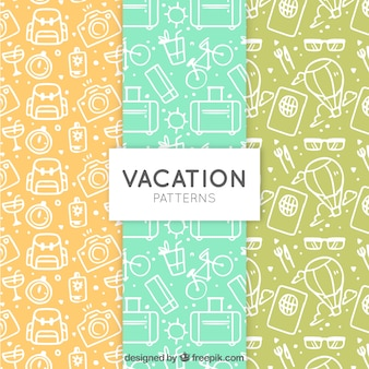 Pack of summer travel patterns with sketches