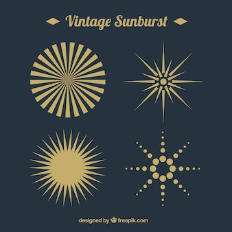 Pack of sunburst in flat design