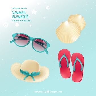 Pack of sunglasses and other beach elements