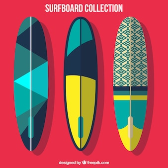Pack of three abstract surfboard