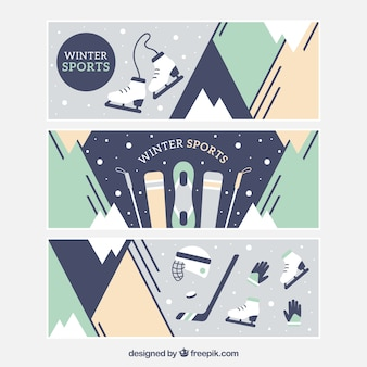Pack of three banners with different winter sports