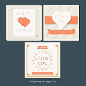 Pack of three beautiful love cards