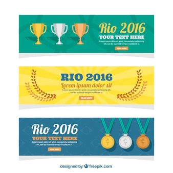 Pack of three brazil banners with trophies and medals