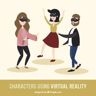 Pack of three characters playing with virtual reality